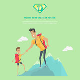 My Dad is Greatest Mentor Concept Illustration. My dad is greatest mentor vector banner. Flat design. Man climbing mountain with his son. Physical activity Stock Photo