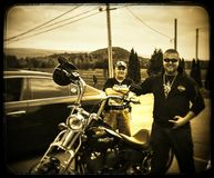 My dad me and my new Harley Davidson stock photography