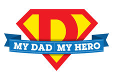 My Dad My Hero T-shirt. Illustration for a child's T-shirt showing affection for their Dad Stock Image