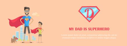 My Dad is Superhero. Dads day. Fathers day. Super dad with his kids. Father playing with son and dog. Dad in a suit of superman Greeting card in flat. Banner Royalty Free Stock Photography