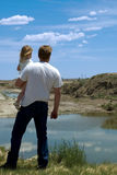 My daddy. Father with child looking at landscape stock photo