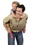 My daddy. Father and daughter have fun, isolate on white Royalty Free Stock Photo