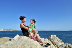 With my daughter at the sea Royalty Free Stock Image
