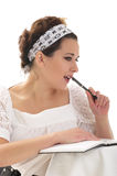 My dear diary. The girl writing a note in her diary royalty free stock photos