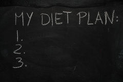 My diet plan list on black chalkboard Royalty Free Stock Images