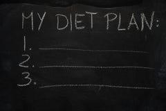 My diet plan list on black chalkboard Stock Photos