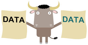 My digital copy. A bull holding papers with a duplicate data word Stock Images