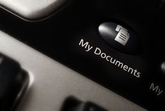 My documents keyboard shortcut button. My documents keyboard shortcut button close up in focus with narrow depth of field royalty free stock photo