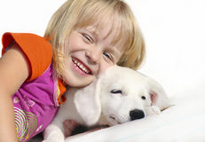 My Dog. Little girl plays with her little puppy on a white background stock photos