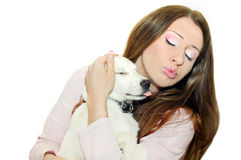 My dog. The white Dog and woman stock photos