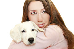 My dog. The white Dog and woman royalty free stock images