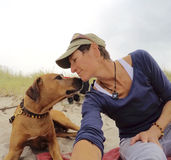My dog and me on the beach Royalty Free Stock Images