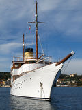 MY Eden. Classic Motor yacht Eden three quarter view moored at cap ferrat Royalty Free Stock Photos