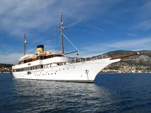 MY Eden. Classic motor yacht Eden, schooner type, moored in a bay Royalty Free Stock Photo
