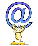My email. Little man hold a big silver email symbol Stock Photography