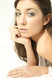 My eyes in white. Close shoot of young lady watch to the camera deep look Stock Image