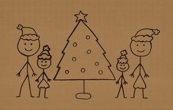 My family at Christmas. A handmade kid's drawing of a happy family at Christmas Stock Photos