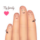 My family festive poster card. My family festive card. Realistic funny fingers together. Excellent gift poster fun for special memories. Flat style vector Stock Images
