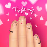 My family festive poster card. My family festive card. Realistic happy fingers together. Excellent gift poster fun for special memories. Flat style vector Royalty Free Stock Photo