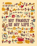 My family my life icons and objects color Stock Photos