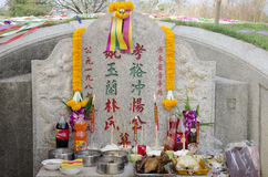 My family praying and sacrificial offering food and joss paper t Stock Photo