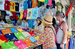 My family shopping at Ben Thanh Market Stock Images