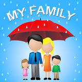 My Family Shows Parasol Umbrella And Sibling. My Family Meaning Children Myself And Parasol Royalty Free Stock Image