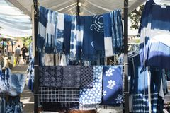 My fashion tie batik dyeing indigo clothes shop for sale travelers Stock Image