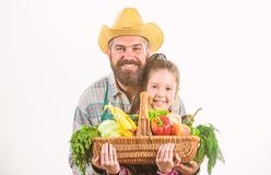 My father is farmer. Gardening and harvesting. Family farm organic vegetables. Man bearded rustic farmer with kid stock image