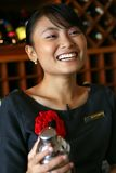 My favorite bartender/butler/waiter. Beatiful bartender at hotel bar royalty free stock images
