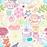 My Favorite Things Doodle Seamless Pattern Stock Photo