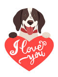 My Feelings. Lovely Dog With Heart And Text I Love You. Greeting Card With Cute Animals. Royalty Free Stock Image