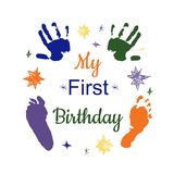 My first birthday. Concept. Colorful footprint and hand print vector illustration isolated on white stock illustration