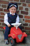 My first car. Little boy with his first car Stock Photography