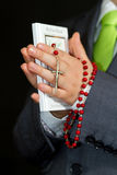 My first communion. Boy hands at pray - first communion Royalty Free Stock Photo