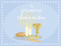 My first communion. Blue card invitation. My first communion. Card invitation. Religious elements on blue background. Vector Stock Images