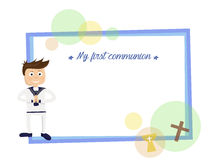 My first communion. Blue card invitation Royalty Free Stock Photography