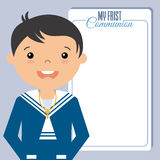 My first communion boy. Invitation. space for text Stock Images