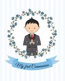 My first communion boy. Boy praying and flower frame Royalty Free Stock Photography