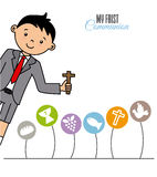 My first communion boy. Religion icons Royalty Free Stock Image