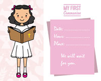 My first communion card. Girl reading the bible Stock Images