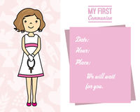 My first communion card. Girl with rosary. Space for text Stock Images
