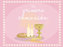 My first communion. Card invitation. Religious elements on blue. Background. Frame made with flowers. Vector Stock Photography