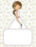 My first communion girl. Flowers background and space for text royalty free illustration