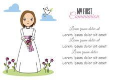 My first communion girl. Girl with flowers in her hand Royalty Free Stock Images