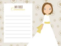 My first communion girl. Girl with beautiful dress and floral background. space for text Royalty Free Stock Photography