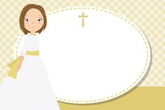 My first communion girl. Space for text Royalty Free Stock Photo