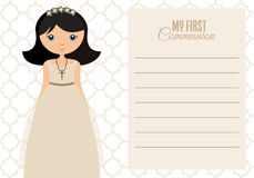 My first communion girl. Space for text Royalty Free Stock Photos
