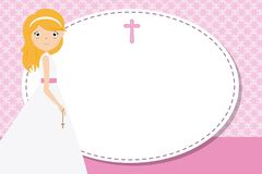 My first communion girl. Space for text Stock Images