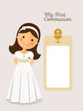 My first communion invitation communion with message Stock Image